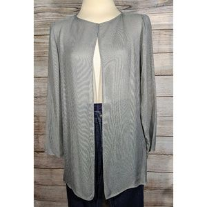 Eileen Fisher Gray Mesh Sheer Long Sleeve Cardigan